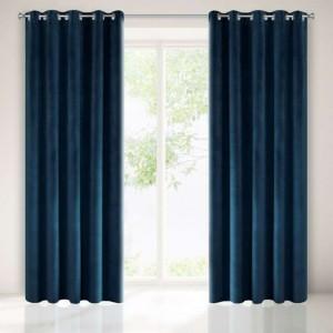 Tmavo modrý záves v luxusnom dizajne 140 x 250 cm
