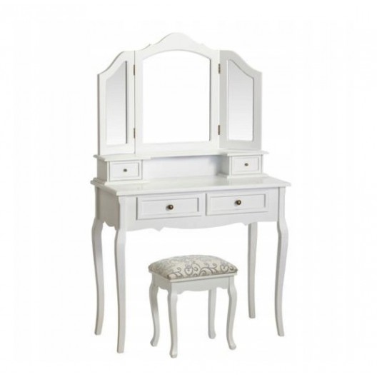 Toaletný stolík s otváracím zrkadlom a taburetkou