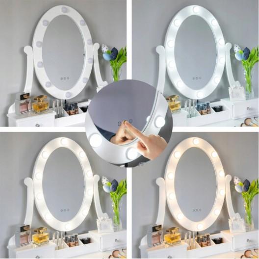 Kvalitný toaletný stolík so zkadlom a LED svetielkami