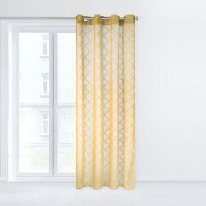 Krásna žltá záclona na okná so zavesením na kruhy 140 x 250 cm