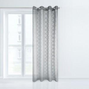 Štýlová záclona v sivej farbe s ornamentom 140 x 250 cm