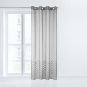 Záclona v sivej farbe so zavesením na kruhy 140 x 250 cm