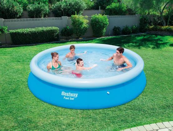 DomTextilu Veľký bazén s nafukovacím okrajom na záhradu bez filtrácie 366 x 76 cm Modrá
