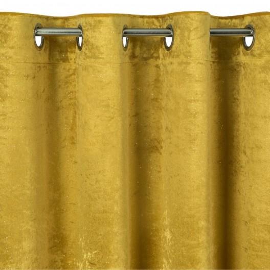 Žiarivý záves žltej farby so zavesením na kruhy 140 x 250 cm