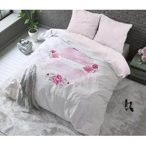 Krásne ružové bavlnené posteľné obliečky 160 x 200 cm