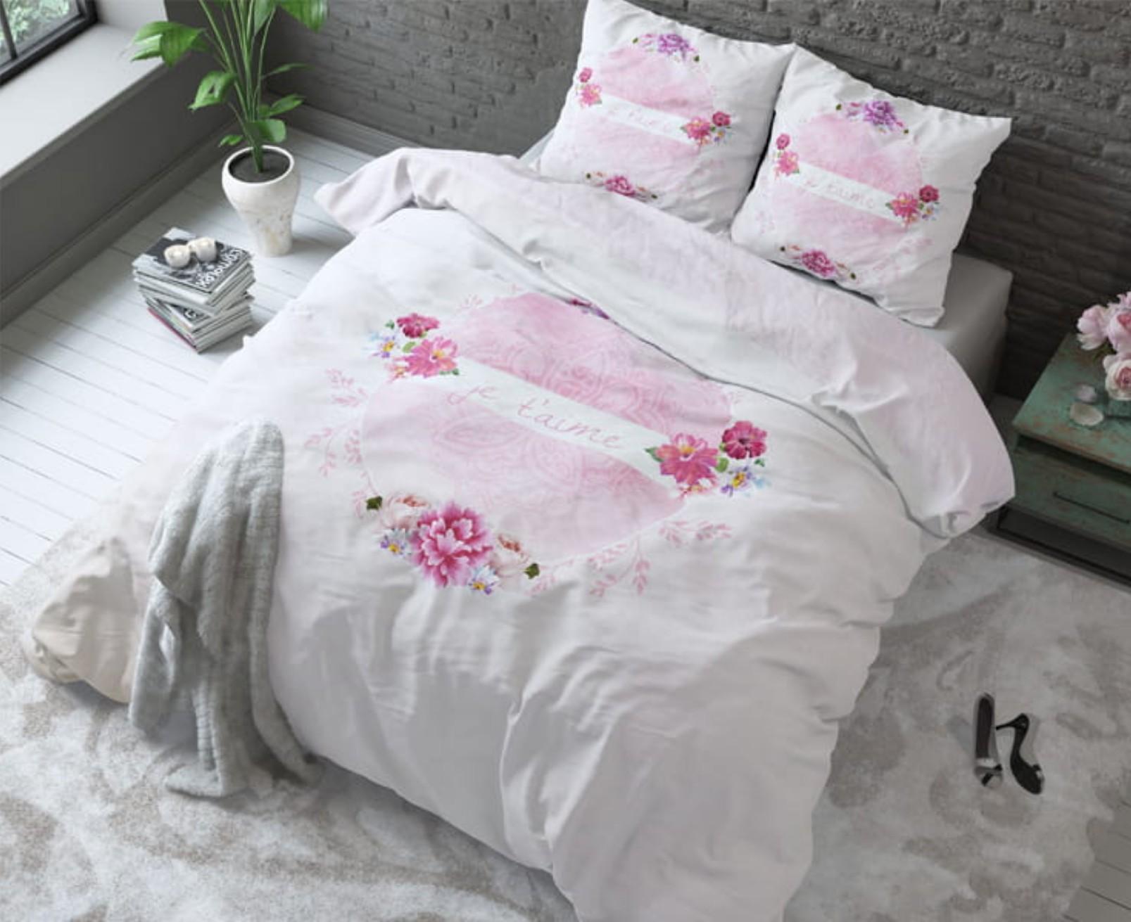 DomTextilu Bavlnené ružové posteľné obliečky JE'TAIME 200 x 220 cm 20793