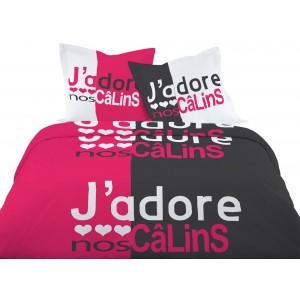 Štýlové posteľné obliečky s nápisom J'Adore 220 x 200 cm