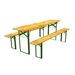 Drevený záhradný stôl s dvoma lavičkami