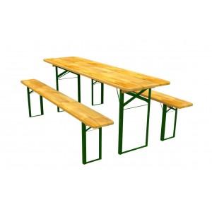 Stôl na záhradu s dvoma lavičkami 60 x 220 cm
