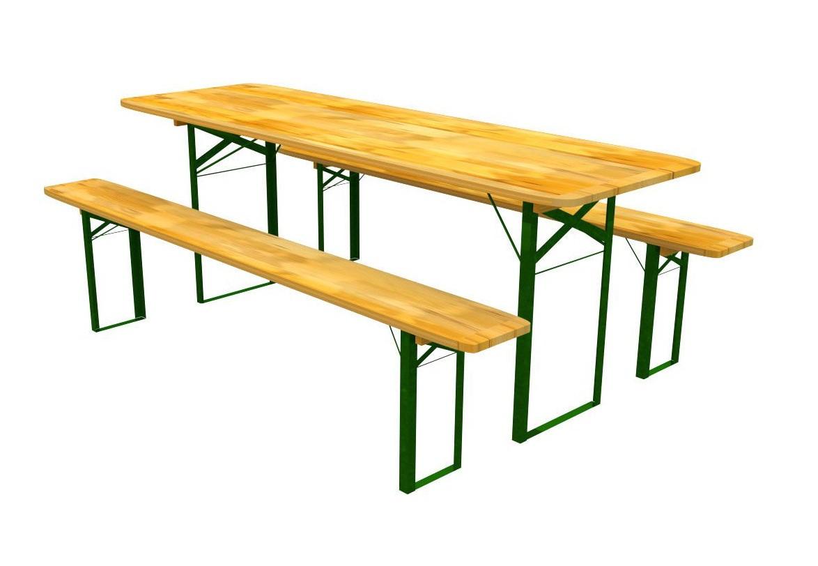 Komplet drevených lavičiek a pevného stola 70 x 220 cm