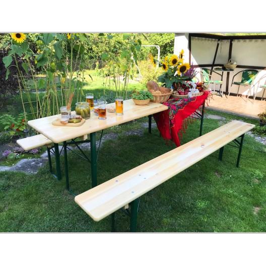 Veľký záhradný stôl s borovicového dreva s lavičkami 80 x 220 cm