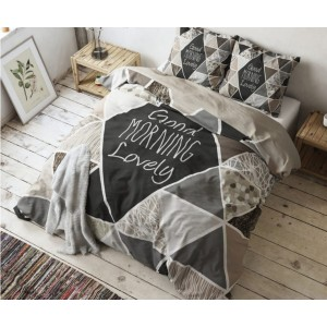 Hnedé bavlnené posteľné obliečky s nápisom 140 x 200 cm