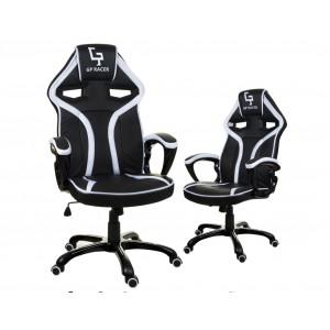 Kancelárske kreslo čiernej farby s bielym lemom na kolieskach
