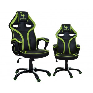 Čierne kancelárske kreslo s výrazným zeleným lemovaním