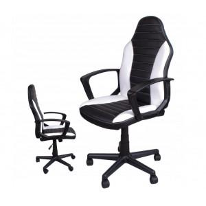 Športové kancelárske kreslo v bielo čiernej farbe