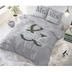 Bavlnené sivé posteľné obliečky MR AND MRS 200 x 200 cm