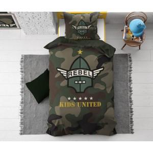 Detské posteľné zelené army obliečky REBEL 140 x 200 cm