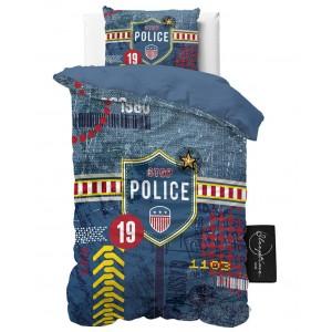 Modré posteľné obliečky pre chlapcov POLICE 140 x 200 cm