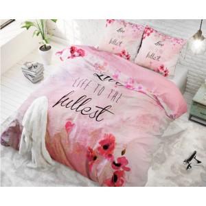 Romantické ružové posteľné obliečky s kvetmi 220 x 200 cm