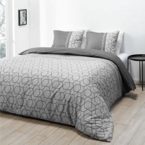 Originálne sivé posteľné obliečky s nápisom 200 x 200 cm