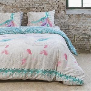 Krásne farebné posteľné obliečky s pierkami 140 x 200 cm