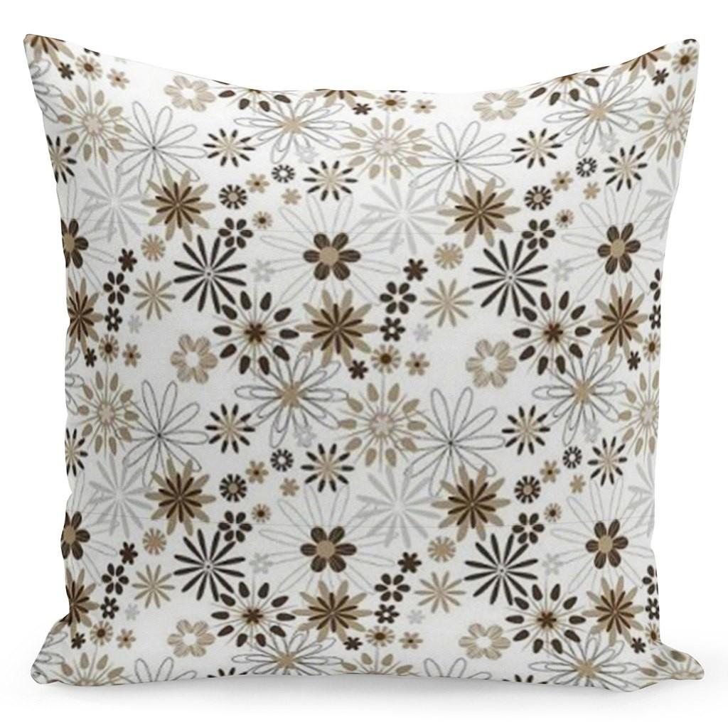 DomTextilu Hnedo kvetovaná biela obliečka 40 x 40 cm 22383-139615