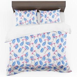 Biele posteľné obojstranné obliečky s plameniakmi