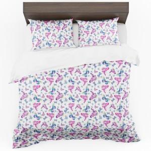 Biele obojstranné posteľné obliečky s potlačou motýľov