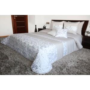 Luxusný vzorovaný prehoz na posteľ striebornej farby