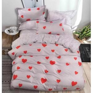 Sivé obojstranné posteľné obliečky s motívom lásky