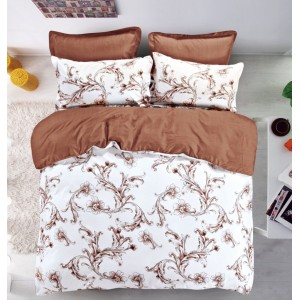 Luxusné obojstranné vzorované posteľné obliečky bielo hnedé