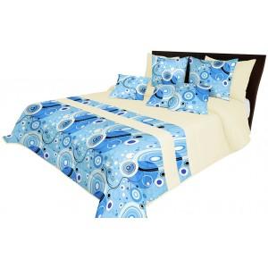 Kvalitný modrý prehoz na posteľ s dekoračným prešívaním