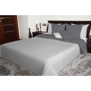 Obojstranný prešívaný prehoz na postel sivej farby