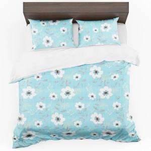 Svetlo modré posteľné obliečky z mikrovlákna s kvetmi