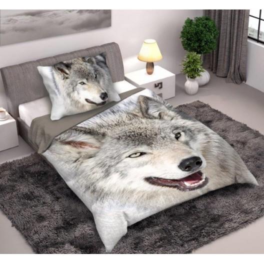 Krásna obojstranná posteľná obliečka s motívom vlka
