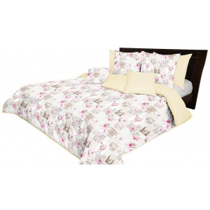 Krémový prehoz na posteľ s kvetinovým motívom
