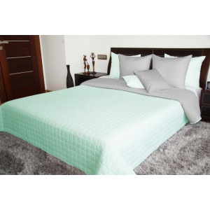 Moderný prešívaný prehoz na postel v mätovo zelenej farbe