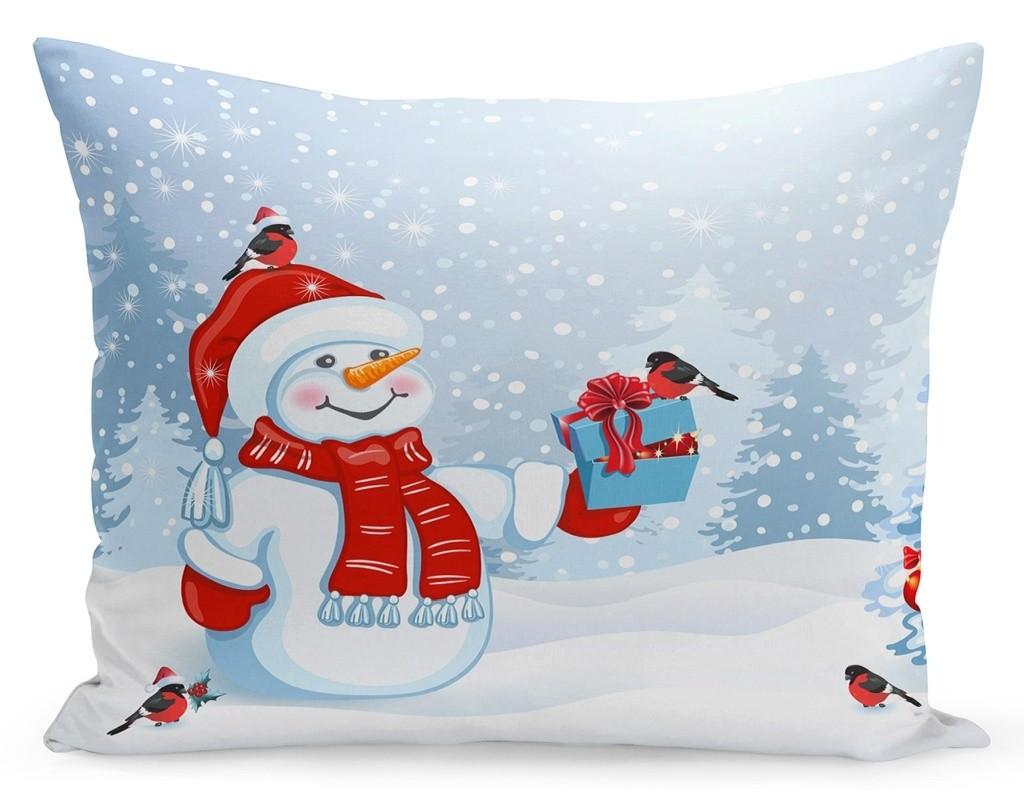 DomTextilu Vianočná obliečka na vankúš snehuliak a darčeky 70x80 cm Modrá 23302-142041