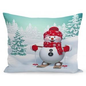 Vianočná obliečka na vankúš snehuliak