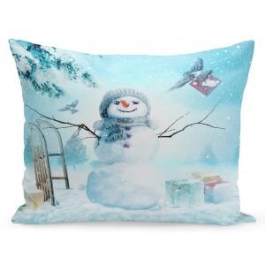 Vianočná obliečka na vankúš snehuliak a darčeky