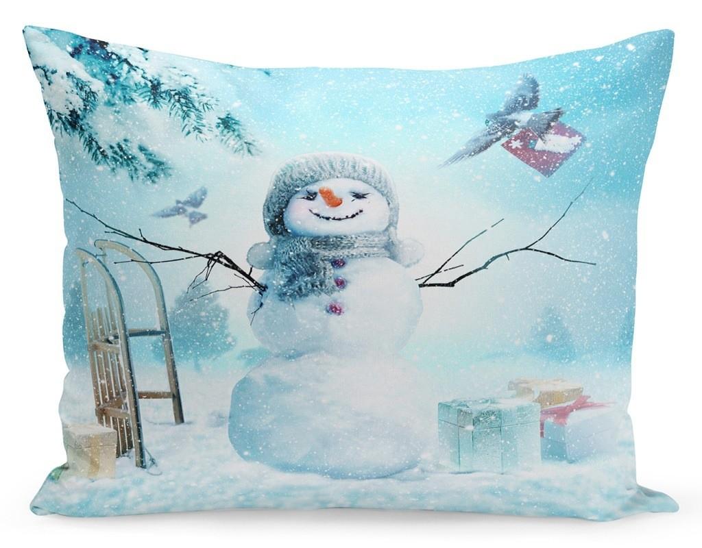 DomTextilu Vianočná obliečka na vankúš snehuliak a darčeky 70x80 cm Tyrkysová 23304-142043