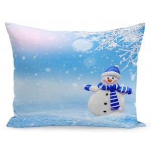 Vianočná obliečka na vankúš snehuliak a zasnežená krajina
