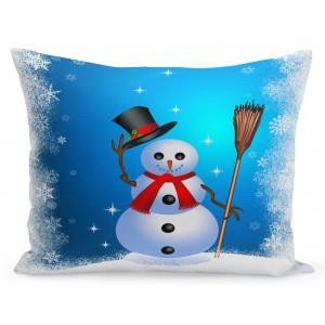 Vianočná obliečka na vankúš snehuliak s klobúkom