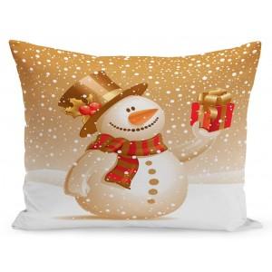 Vianočná obliečka na vankúš snehuliak s darčekom