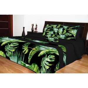Čierny moderný prehoz s farebným exotickým motívom