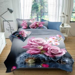 Krásne žiarivé posteľné obliečky s ružovými kvetmi