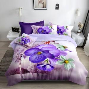 Fialové posteľné obliečky s kvetmi 3D