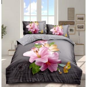 3D posteľné obliečky sivej farby s kvetmi