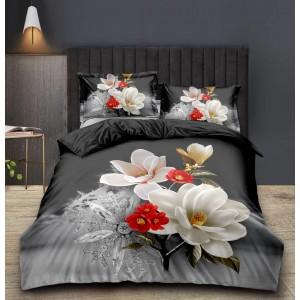 Sivé posteľné obliečky s kvetmi 3D