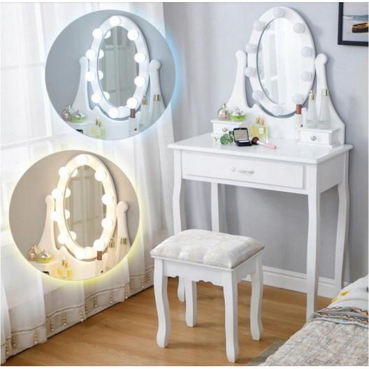 Toaletný stolík s LED zrkadlom a piatimi zásuvkami